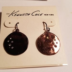 Kenneth Cole bronze color pave disc earrings